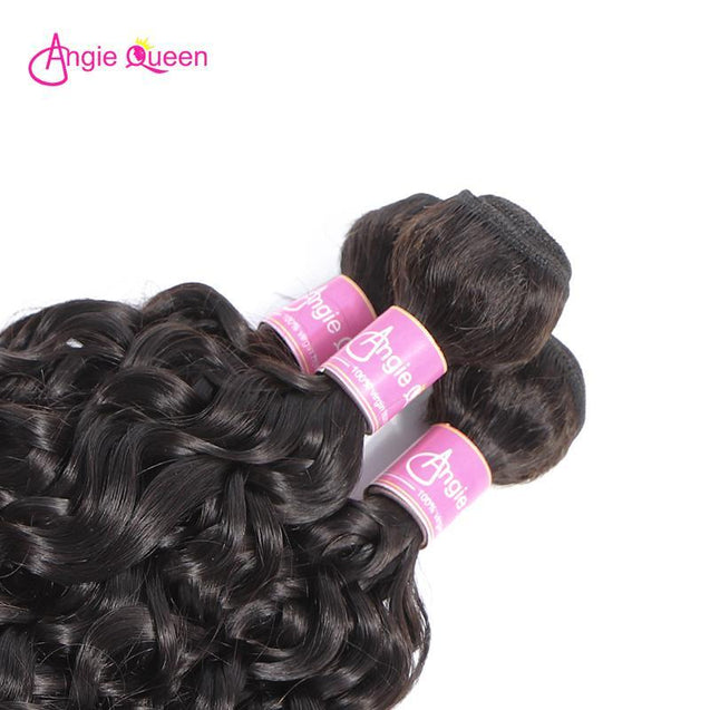 Angie Queen 4 Bundles Brazilian Water Wave Virgin Human Hair Weave Bundles