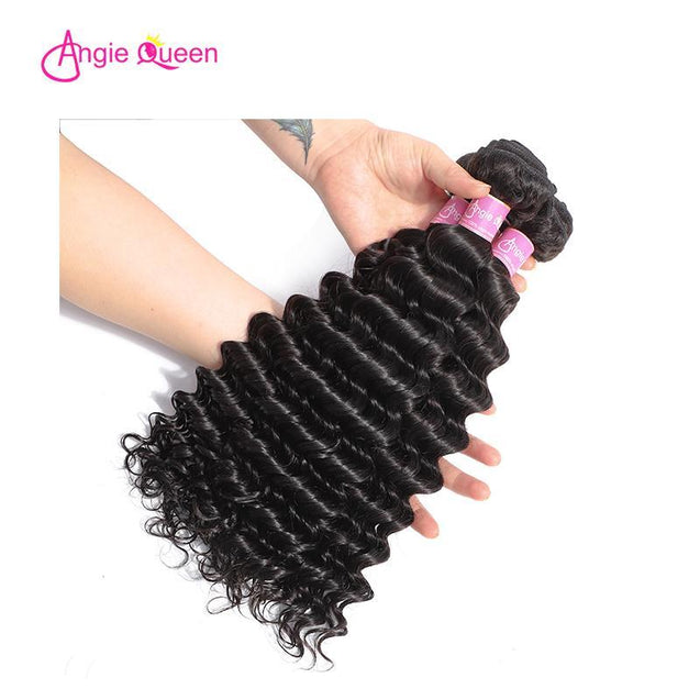 Angie Queen 3 Bundles with Frontal Indian Deep Wave Virgin Human Hair Weave Bundles