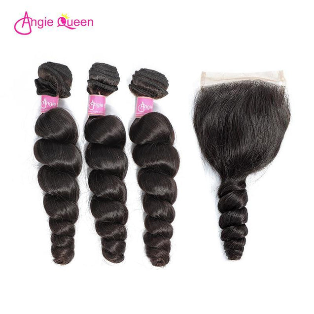 Angie Queen 3 Bundles with Closure Peruvian Loose Wave Virgin Human Hair Weave Bundles