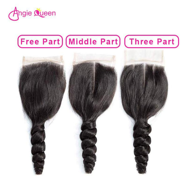 Angie Queen 3 Bundles with Closure Brazilian Loose Wave Virgin Human Hair Weave Bundles