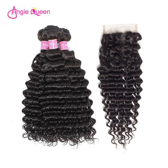 Angie Queen 3 Bundles with Closure Malaysian Deep Wave Virgin Human Hair Weave Bundles