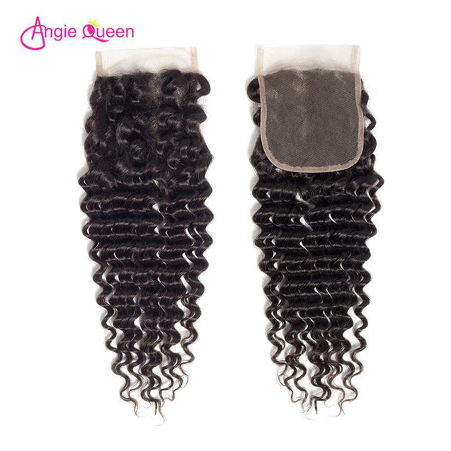 Angie Queen 4 Bundles with Closure Peruvian Deep Wave Virgin Human Hair Weave Bundles