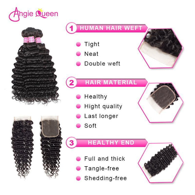 Angie Queen 4 Bundles with Closure Brazilian Deep Wave Virgin Human Hair Weave Bundles