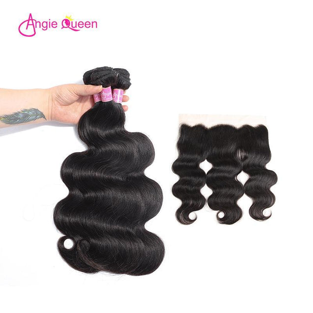 Angie Queen 3 Bundles with Frontal Indian Body Wave Virgin Human Hair Weave Bundles
