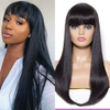 Angiequeen Hair Wig Straight Human Hair Wigs Pre-Plucked With Bangs Gluess Remy Human Hair Wigs