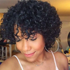 angiequeen Short Bob  Wigs Curly Pre Plucked With Baby Hair 9inches