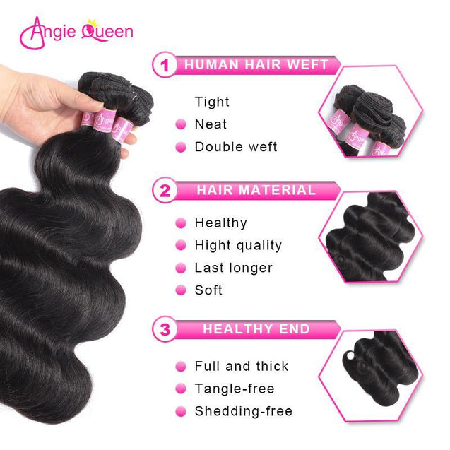 Angie Queen 4 Bundles Malaysian Body Wave Virgin Human Hair Weave Bundles