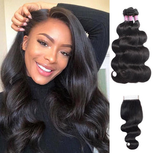 Angie Queen 3 Bundles with Closure Brazilian Body Wave Virgin Human Hair Weave Bundles