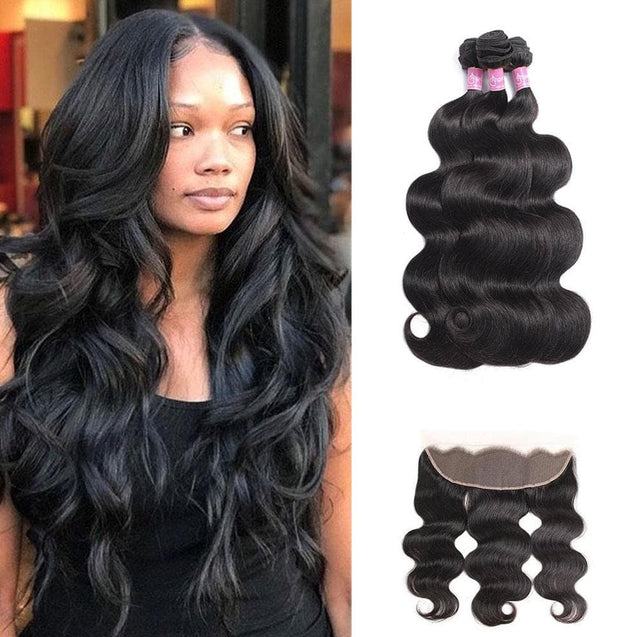 Angie Queen 3 Bundles with Frontal Brazilian Body Wave Virgin Human Hair Weave Bundles