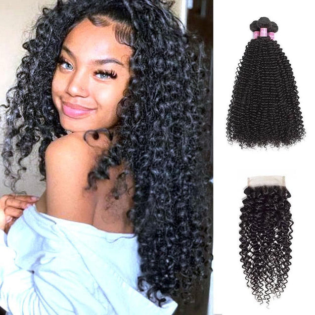 Angie Queen 3 Bundles with Closure Peruvian Curly Virgin Human Hair Weave Bundles