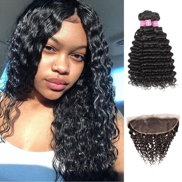 Angie Queen 3 Bundles with Frontal Brazilian Deep Wave Virgin Human Hair Weave Bundles