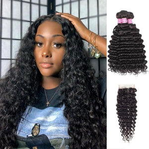 Angie Queen 3 Bundles with Closure Brazilian Deep Wave Virgin Human Hair Weave Bundles