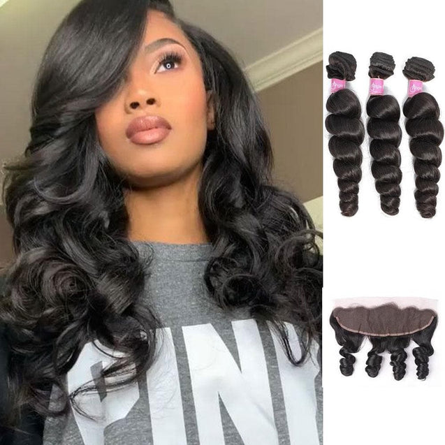 Angie Queen 3 Bundles with Frontal Peruvian Loose Wave Virgin Human Hair Weave Bundles