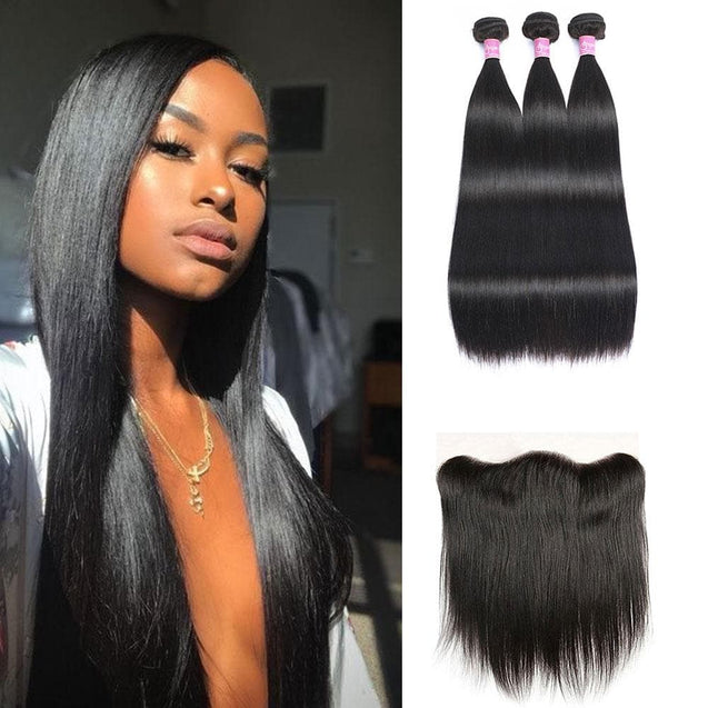 Affordable Angie Queen 3 Bundles with Frontal Brazilian Silky Straight Virgin Human Hair Weave Bundles on Sales, No Shedding, No Tangle, Unprocessed Raw Cuticle Aligned Virgin Hair, Free Shipping, 2-4 Days Arrival. 7 Days No Reason Return.