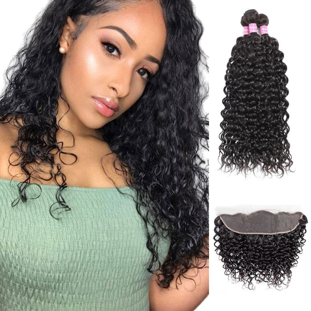 Angie Queen 3 Bundles with Frontal Indian Water Wave Virgin Human Hair Weave Bundles