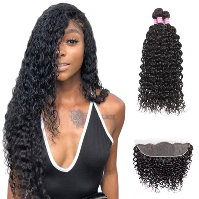 Angie Queen 3 Bundles with Frontal Malaysian Water Wave Virgin Human Hair Weave Bundles