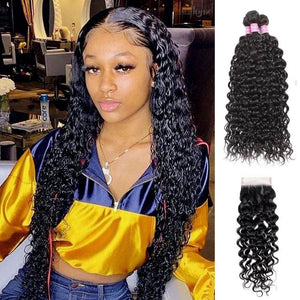 Angie Queen 3 Bundles with Closure Brazilian Water Wave Virgin Human Hair Weave Bundles