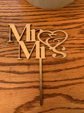 "Load image into Gallery viewer, ""Mr. & Mrs."" Cake Topper"