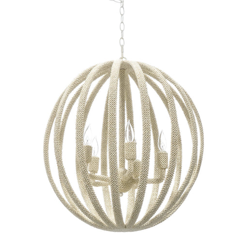 Palecek 2409-79 Madera Coco Bead Large Chandelier, Soft White