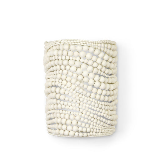 Palecek Point Dume White Wood Bead Sconce 11.5 x 7 x 4