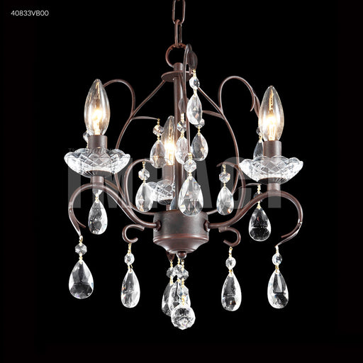 James R Moder Vintage Bronze Mini 3 Arm Chandelier