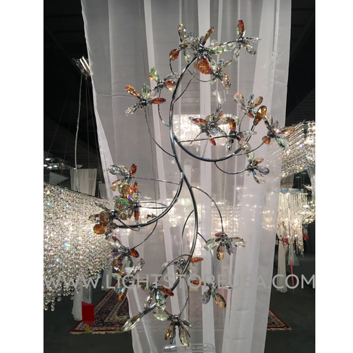James R Moder Crystal Rain Single Floral Branch Chandelier