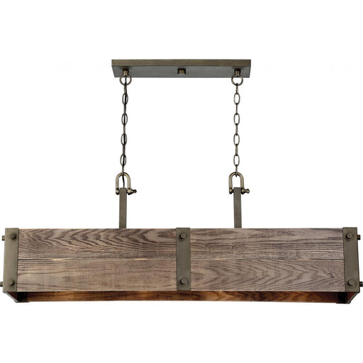 Nuvo 60-6424 Winchester 4 Light Trestle Island Pendant Aged Wood Bronze