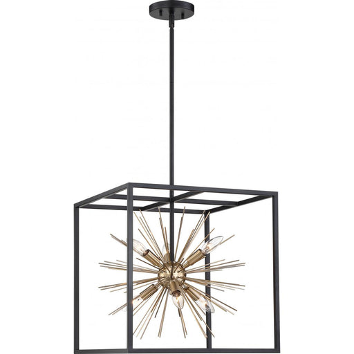 Nuvo 60-6730 Spirefly 6 Light Matte Black and Burnished Brass Pendant
