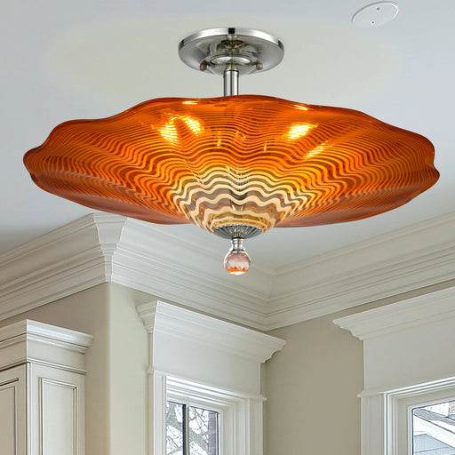 Titan Hand Blown Art Glass Semi Flush Mount