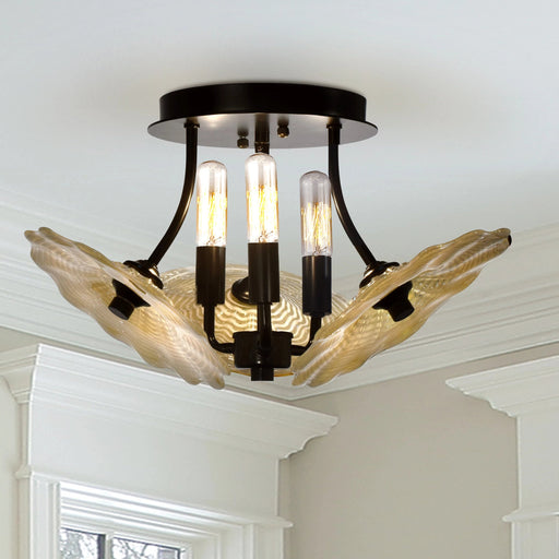 Dale Tiffany Beige Feather 3-Light Art Glass Semi Flush Mount