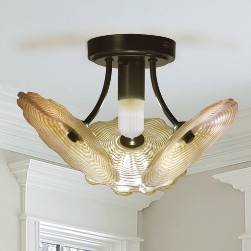 Beige Feather LED Hand Blown Art Glass Semi Flush Mount