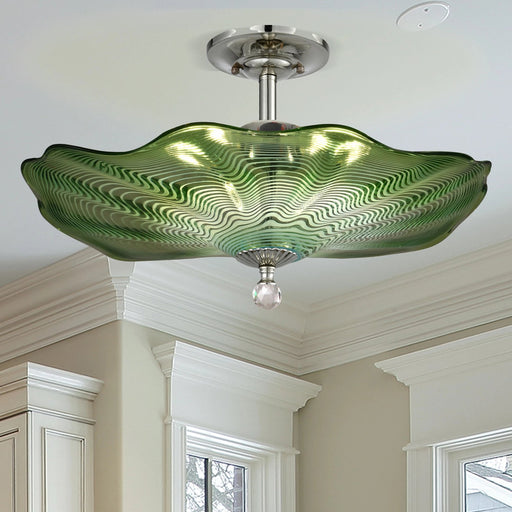 Waterfront Hand Blown Art Glass Semi Flush Mount