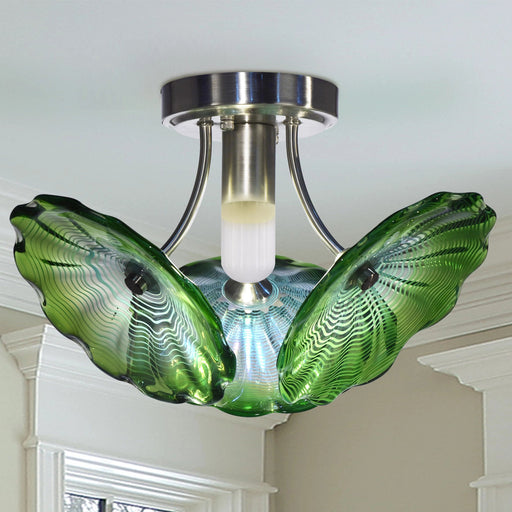 Waterfront LED Hand Blown Art Glass Semi Flush Mount