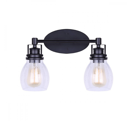 Canarm IVL705A02BK Carson Black Two Light Vanity w/ Seeded Glass