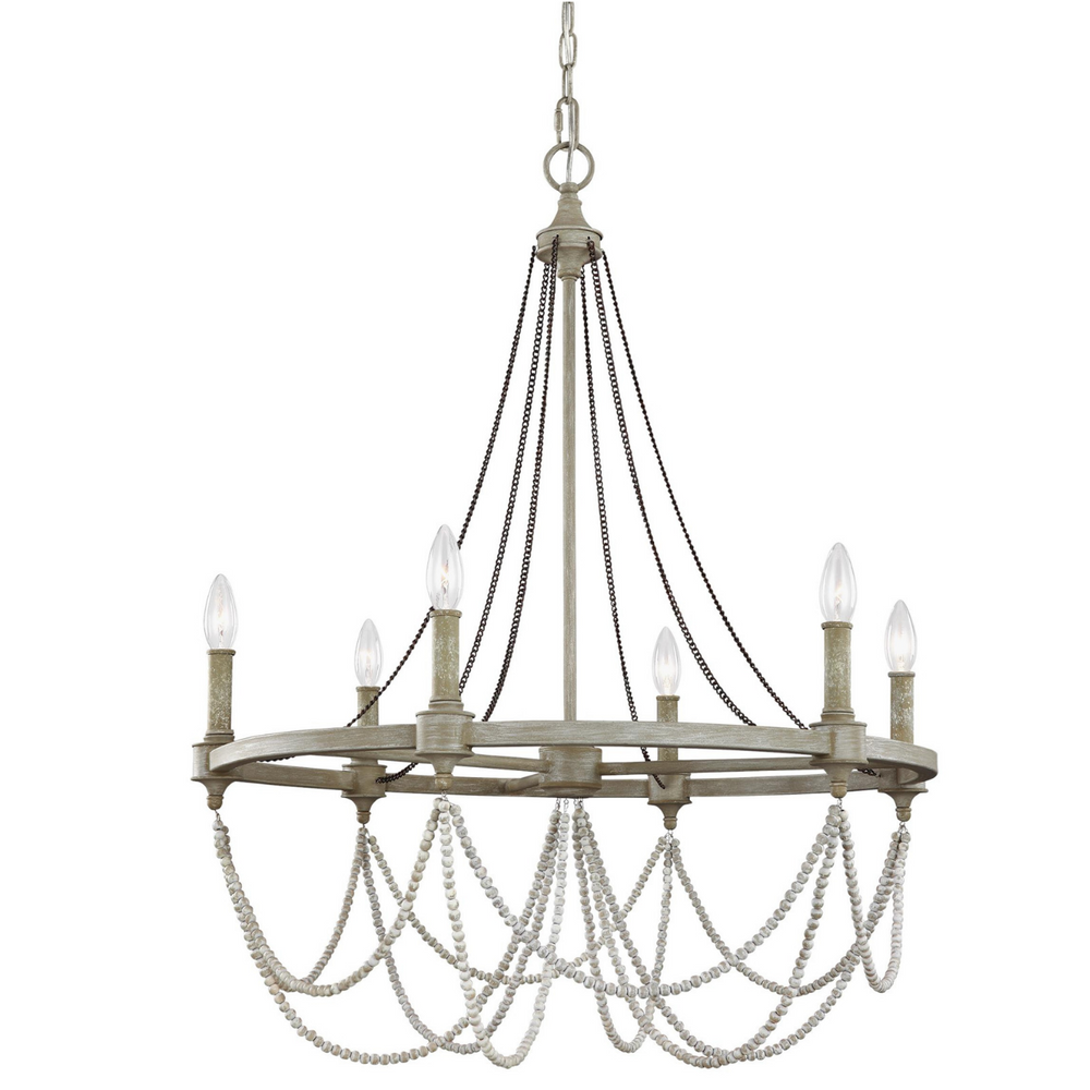 "Feiss Beverly French Washed Oak Six Light 28"" Chandelier"