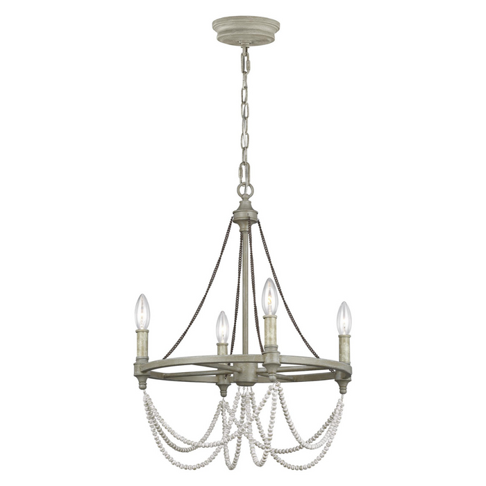 "Feiss Beverly French Washed Oak Four Light 18"" Chandelier"