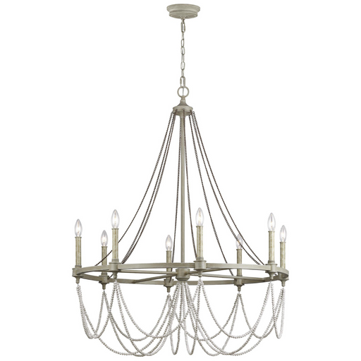 "Feiss Beverly French Washed Oak Eight Light 36"" Chandelier"