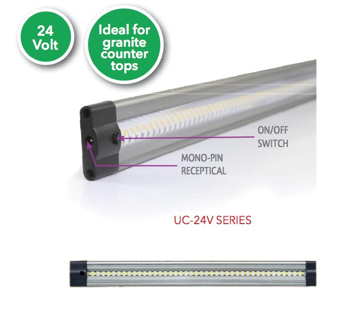 LED Under Cabinet Lighting Westgate UC12W 3 Watts 24V 12 Inch LED Under Cabinet Light 3000K or 6000K Westgate