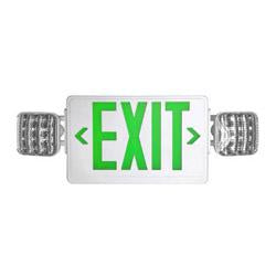 LEDCXTEU1GW LED Combo Emergency Exit White Plastic With Green Letters