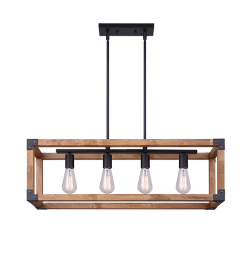 Canarm ICH756A04BKW32 Moss Four Light Rustic Wood Finish Chandelier