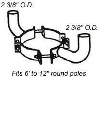 Pole Bracket Round Wood Pole Adjustable Double Mount Bracket RTB2 LightStoreUSA