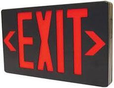LED Exit Sign RED/BLACK w/ Battery Backup