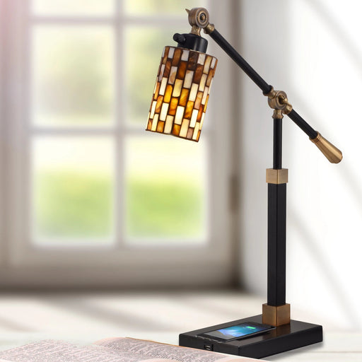 Myriad Mosaic Desk Lamp With Wireless and USB Charger