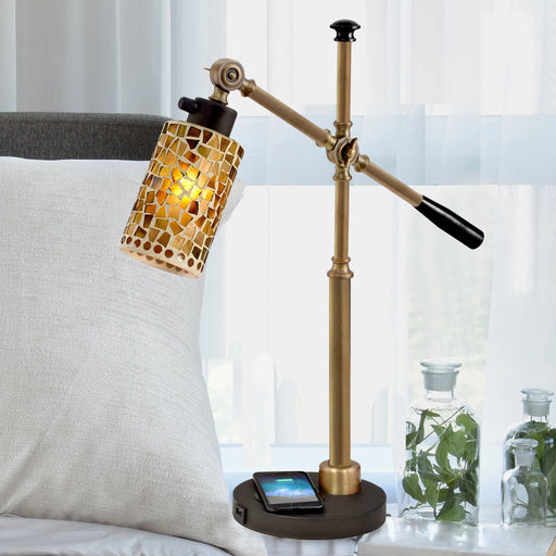 Knighton Mosaic Desk Lamp With Wireless and USB Charger