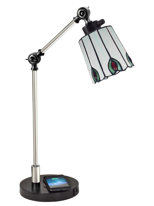 Penfold Tiffany Desk Lamp With Wireless and USB Charger