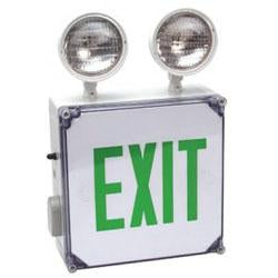 CWLXTEGEM Wet Location Combo, LED Exit/Emergency Light Green Letters