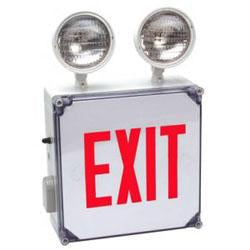 CWLXTEREM Wet Location Combo, LED Exit/Emergency Light Red Letters