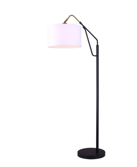 Canarm IFL1024A62BKG Winston Floor Lamp in Matte Black With Drum Shade