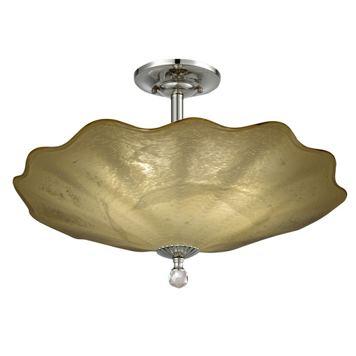 Beige Feather Hand Blown Art Glass Semi Flush Mount