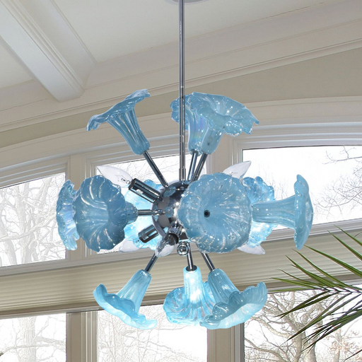 Yuri Blue 6-Light Art Glass Hanging Fixture